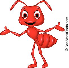 Cartoon red ant waving isolated