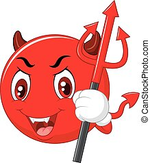 Vector illustration of Cartoon red devil emoticon holding trident isolated on white background