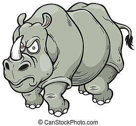 Cartoon rhino - Vector illustration of Cartoon rhino