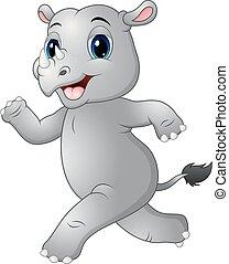 Cartoon rhino running