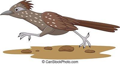 Cartoon Roadrunner bird running on the road
