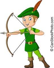 Cartoon robin hood holding a bow