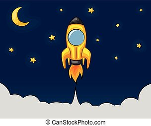 Cartoon rocket flying in the starry sky