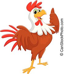 cartoon rooster give thumb up