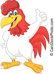 Cartoon rooster giving thumb up