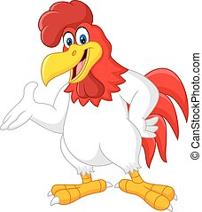 Cartoon rooster presenting isolated - Vector illustration of...
