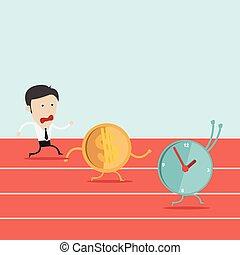 Vector illustration of cartoon run with dollar coin in flat design