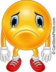 Cartoon sad emoticon on white background