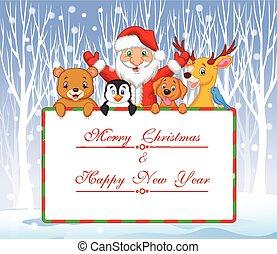 Cartoon Santa and friend holding