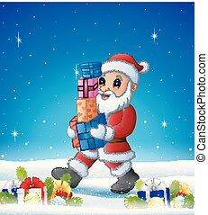 Cartoon Santa bringing gift box in the winter background with balls