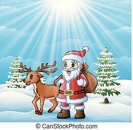 Cartoon Santa Claus and deer standing in the snow with a bag of gifts