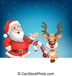 Cartoon Santa Claus and reindeer with blank sign
