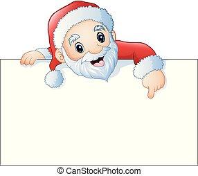Cartoon Santa Claus pointing at a blank sign