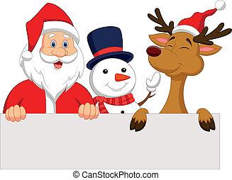 Cartoon Santa Claus, reindeer and s