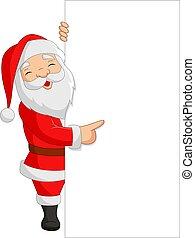Cartoon Santa Claus showing a blank sign