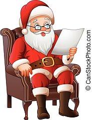 Cartoon Santa Claus sitting at his armchair and reading a...