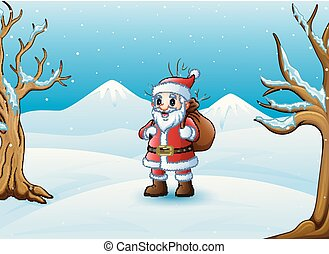 Cartoon Santa Claus standing in the snow with a bag of gifts
