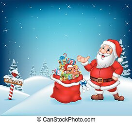 Cartoon Santa Claus with bag full of gift
