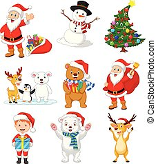 Cartoon Santa Claus with many animals collection set