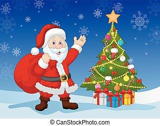 Vector illustration of Cartoon Santa clause with Christmas tree