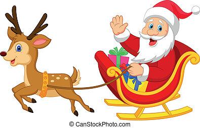 Cartoon Santa drives his sleigh - Vector illustration of...