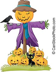 Cartoon scarecrow character - Vector illustration of Cartoon...