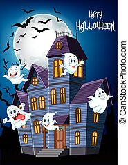 Cartoon scary Halloween house