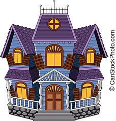 Cartoon scary house isolated - Vector illustration of...