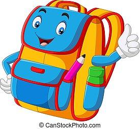 Cartoon school backpack giving thumbs up