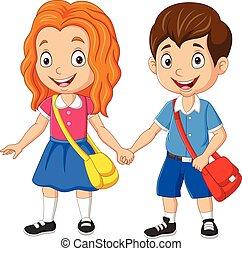 Cartoon school boy and girl with backpacks