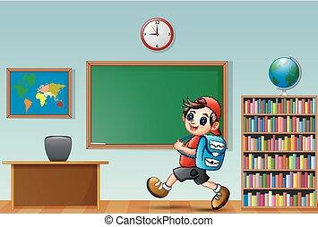 Cartoon school boy in a classroom