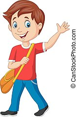 Cartoon school boy with backpack and waving