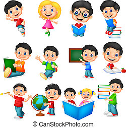 Cartoon school children collection set