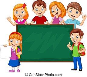 Cartoon school children with chalkboard