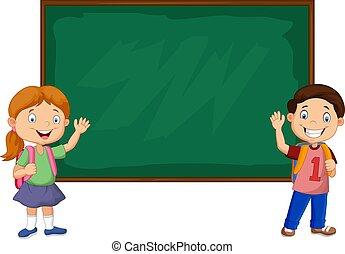 Cartoon school kids with chalkboard