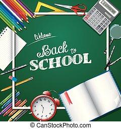 Cartoon School supplies on chalkboard background