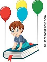 Cartoon schoolboy flying on a book
