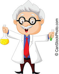 Vector illustration of Cartoon scientist holding chemical flask