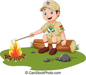 Cartoon scout roasting marshmallow - Vector illustration of...