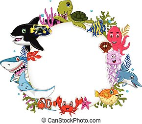 cartoon sea animals with blank sign