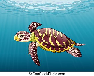 Cartoon sea turtle swimming in the ocean