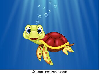Cartoon sea turtle swimming