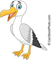 Cartoon seagull posing isolated