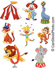 Cartoon Set cute Circus themed - Vector illustration of...