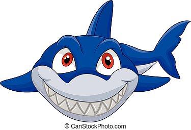Cartoon shark - Vector illustration of Cartoon shark