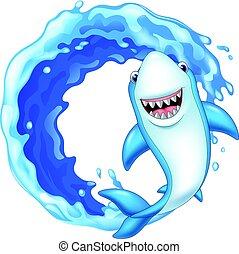 Cartoon shark icon