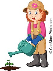 Cartoon she is watering the plant - Vector illustration of...