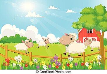 cartoon sheep with a farm scenery