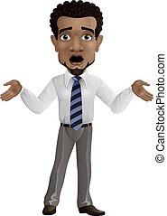 Cartoon shocked businessman isolated on white background