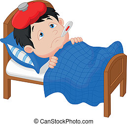 Cartoon Sick boy lying in bed - Vector illustration of...